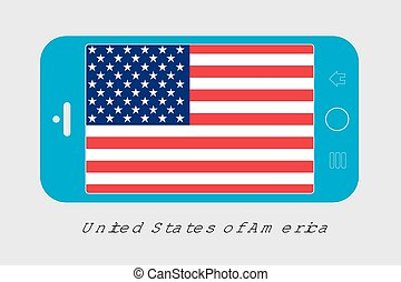 Mobile Phone with the Flag of United States of America