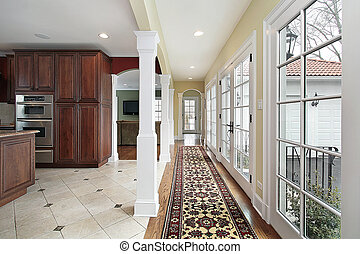 Kitchen with long hallway