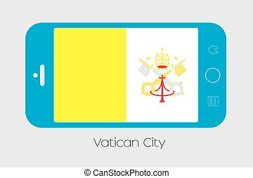 Mobile Phone with the Flag of Vatican - Mobile Phone...