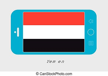 Mobile Phone with the Flag of Yemen - Mobile Phone...