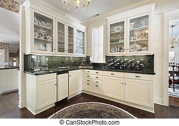 Butlers pantry - Traditional white cabinet pantry and glass...