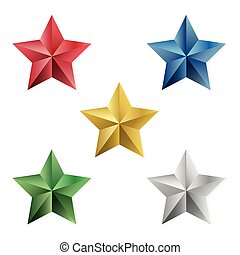 Set of precious stars vector isolated objects - Set of gold...