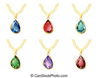 Six Pendant Isolated Objects - Set of six pendants in gold...