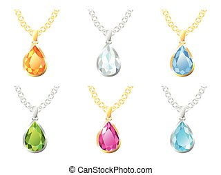 Six Pendants Isolated Objects - Set of six pendants in gold...