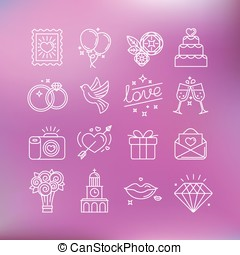 Wedding icons - Vector set of linear icons and illustrations...