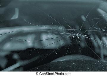 Broken glass on a car