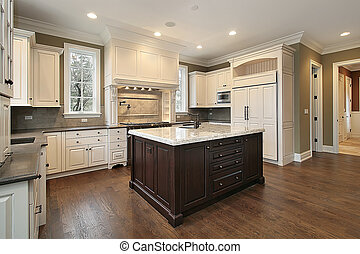 Kitchen with wood and granite island - Kitchen in new...