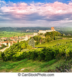 view of Soave Italy and its famous medieval castle - view of...