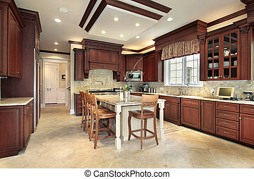 Large wood kitchen - Large kitchen in earth tones with bar...
