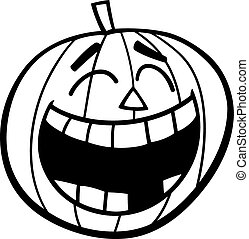 laughing pumpkin coloring page - Black and White Cartoon...