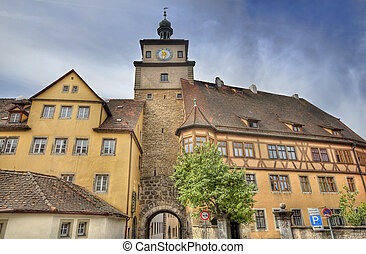 Rothenburg ob der Tauber, Germany - Ancient gate with clock...
