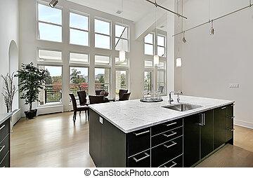 modernos, cozinha, dois, história, janelas