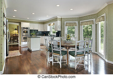 Kitchen with green tones - Green tone kitchen with island...