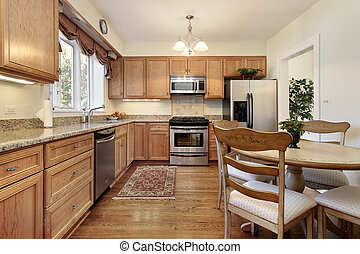 Kitchen with wood paneling - Kitchen and table in suburban...