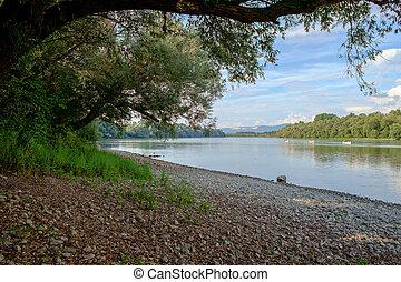 Danube river in Hungary - Danube river in summer in Hungary