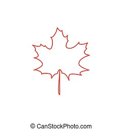 Maple leaf contour vector illustration - Maple leaf flat...