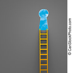 Climb Ladder Of Opportunity - A gold ladder against a gray...