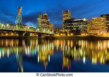 Hawthorne Bridge at Blue Hour - Hawthorne Bridge Over...