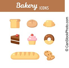bakery icons - Bakery icon set. Breads, desserts and various...