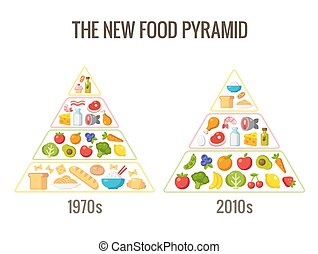 The new food pyramid - Healthy diet infographics. Classic...