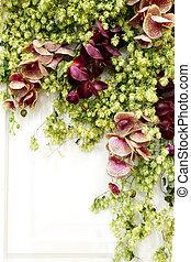 ikebana, De, flores, y, hojas, en, blanco,