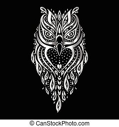 Owl. Tribal pattern. Polynesian tattoo style Vector...