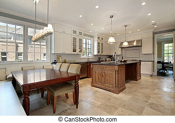 Kitchen with eating area and bench
