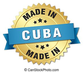 made in Cuba gold badge with blue ribbon