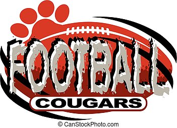 cougars football team design with football and paw print