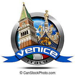 Venice Italy - Round Metal Icon - Round metal icon with...