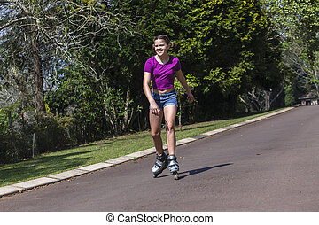 Girls Roller Skating - Girls home driveway roller skating...