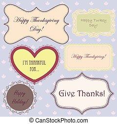 Vintage-thankgiving-bannerseps - Vector vintage set of...