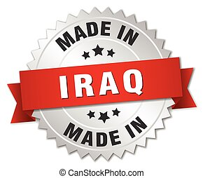 made in Iraq silver badge with red ribbon
