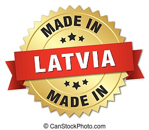 made in Latvia gold badge with red ribbon