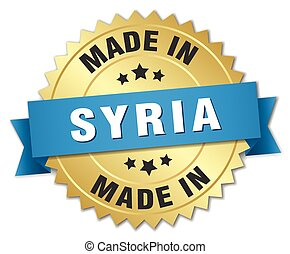 made in Syria gold badge with blue ribbon