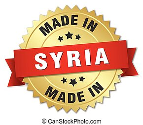 made in Syria gold badge with red ribbon