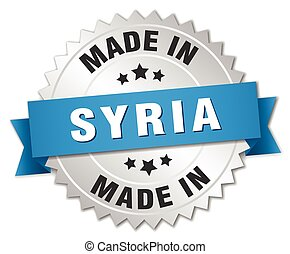 made in Syria silver badge with blue ribbon