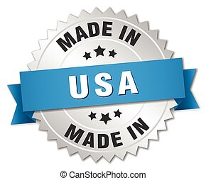 made in usa silver badge with blue ribbon