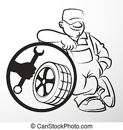 Master of repair of tires - The repairman tire silhouette...