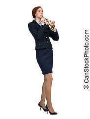 Businesswoman play fife - Cheerful businesswoman playing...