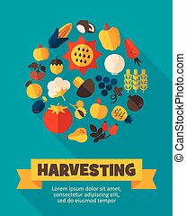 Harvest fruits and vegetable poster Vector illustration eps...