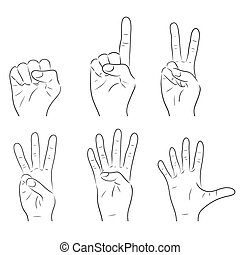 Set of outline gesture human hands