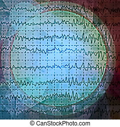 brain wave on electroencephalogram EEG for epilepsy, design...