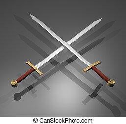 elegante, espadas,