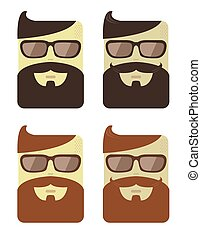 Vector set of cartoon male faces