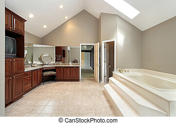 Master bath with step up tub - Large master bath with step...