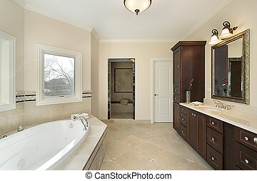 Master bath in new construction home - Master bath with tub...