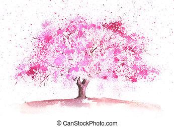 Watercolor spring tree - Seasonal watercolor tree painted in...