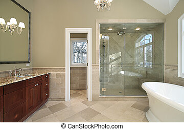 Master bath with freestanding tub - Master bath in new...