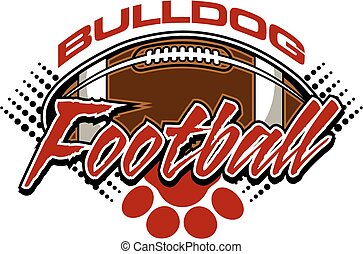 bulldog football team design with ball and paw print